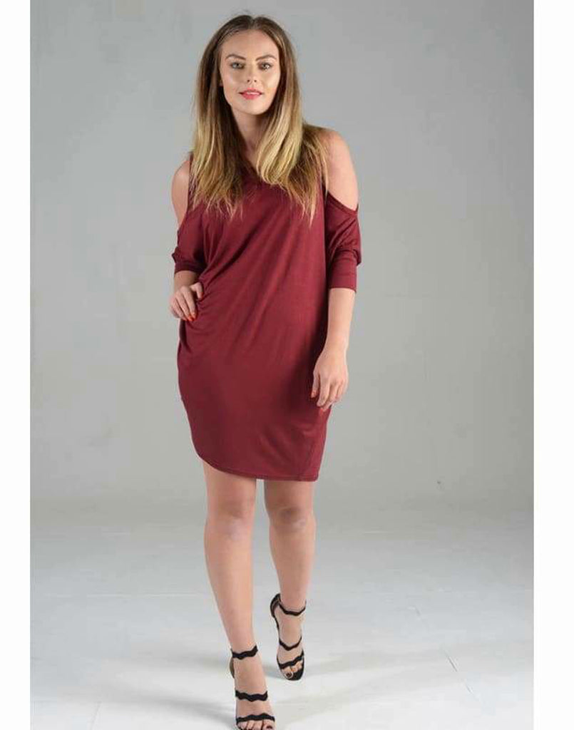 Cold Shoulder Baggy Dress Top - Dresses baggy dress top, cold shoulder baggy dress top, cut out shoulder dresses, cut out shoulder tops,