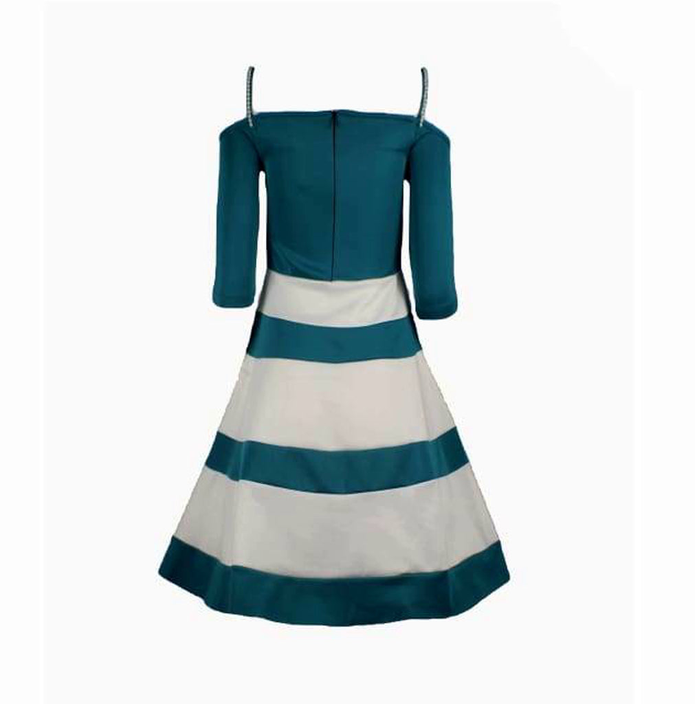 Colour Block Cold Shoulder Prom Dress - Colour-Teal and Cream Bardot Skater dress with Spaghetti Straps
