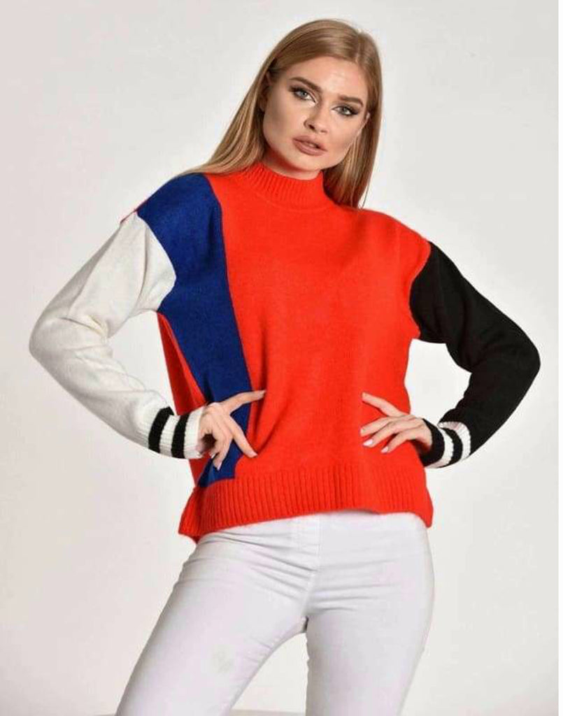 Colour Block High Neck Cropped Jumper - Knitwear Black blue Colour Blocked jumper Crop top Crop top jumper