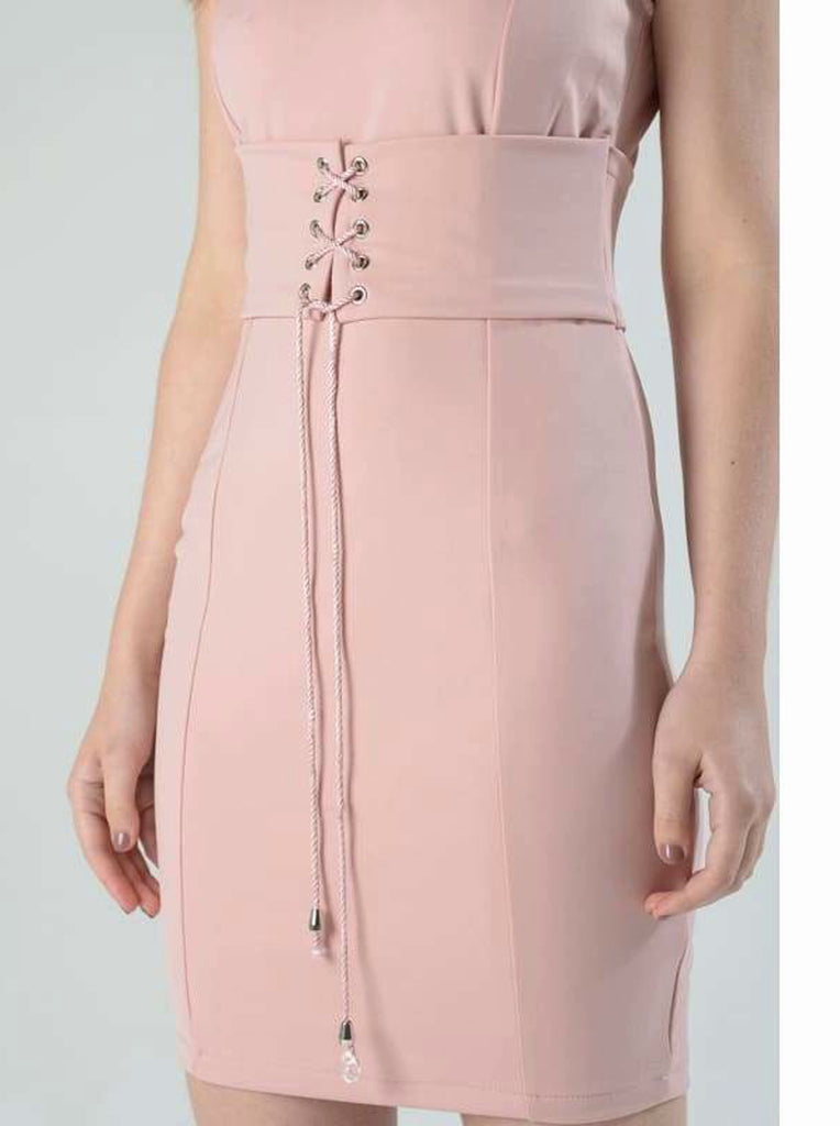 Corset Belted Bodycon Midi Dress - Dresses belted dress Blush Colour dress bodycon dress bodycon dresses bodycon midi dresses