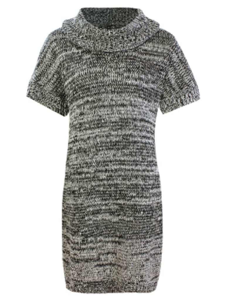 Cowl Neck Speckled Short Sleeve Knit Dress - UK Size 8 - 14 Dresses cardigans Cowl neck dresses cowl neck knitwear dresses dresses for women