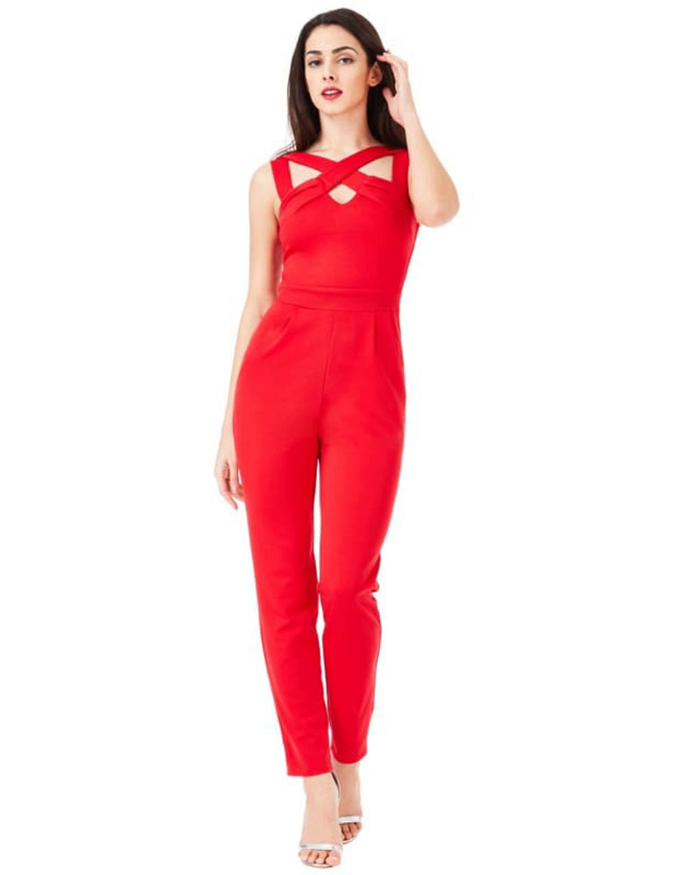 Cross Over Strap Red Jumpsuit