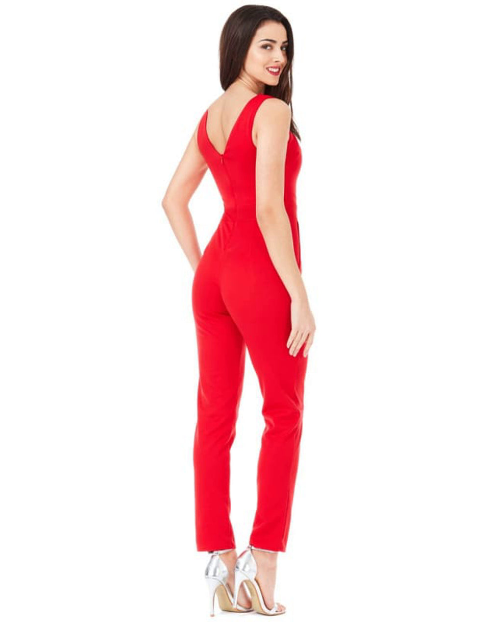Cross Over Strap Jumpsuit - Back View