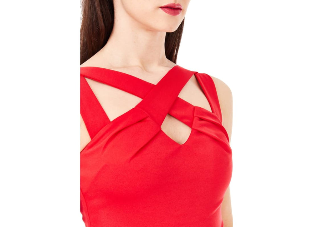 Cross Over Strap Red Jumpsuit suitable for every occasion