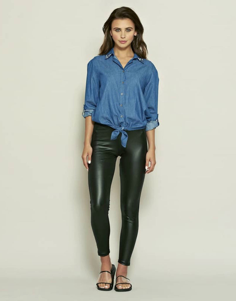 Denim Tie Front Top - Tops & Shirts celeb inspired jeans denim shirts denim tie front top denim tops detail collared shirts