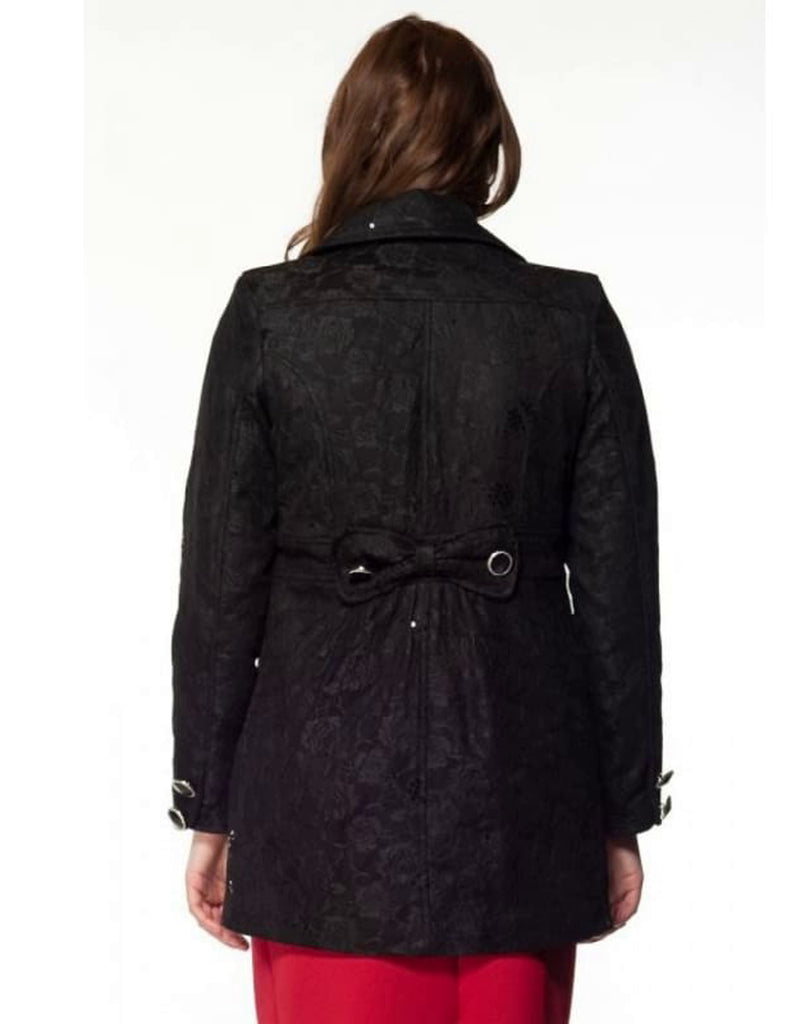Double Breasted Lace Overlay Coat - Back View