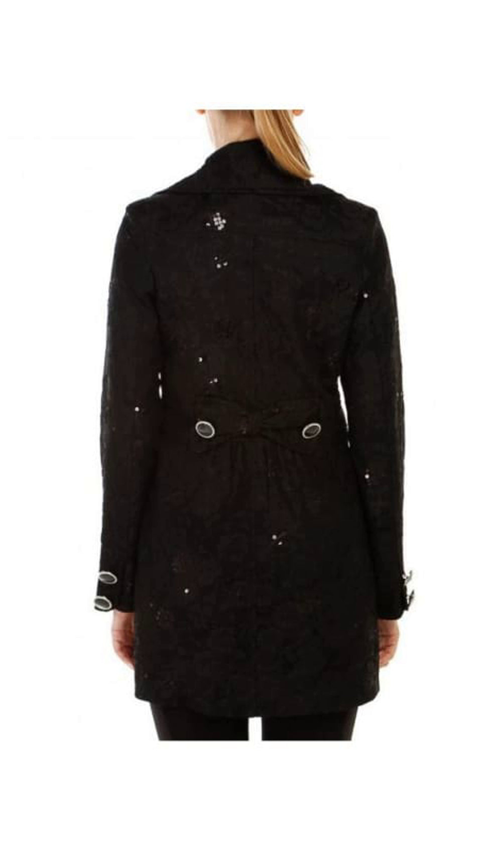 Double Breasted Lace Overlay Coat
