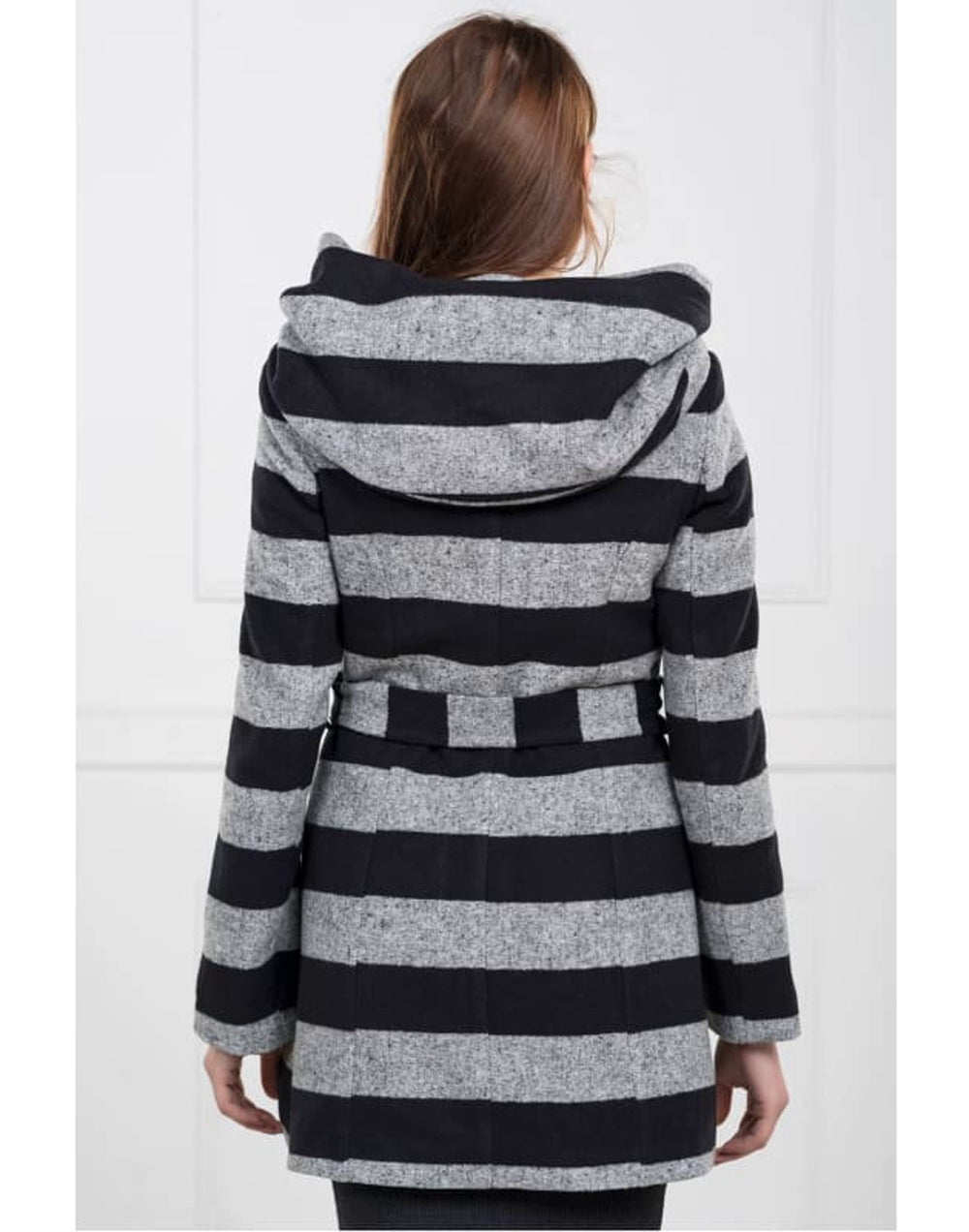 Women Double Breasted Stripe Coat - Coat with Oversized Hood and belted waist