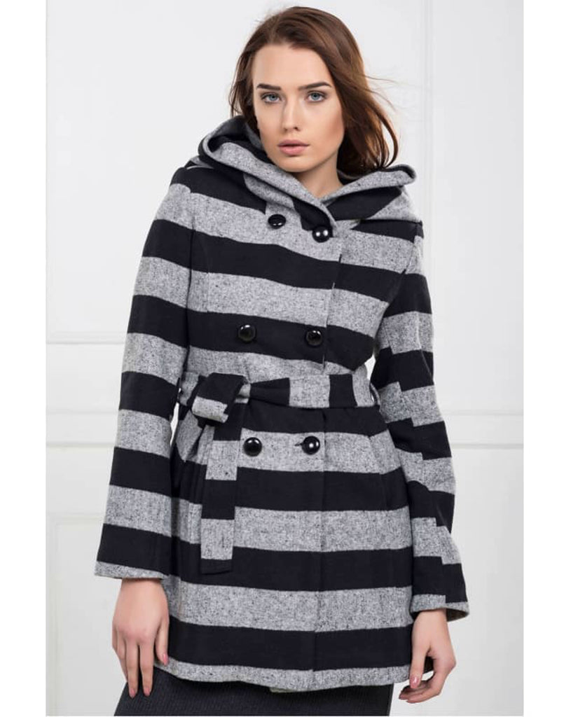 Double Breasted Stripe Coat