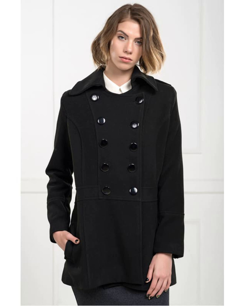 Double Breasted Wide Collar Coat - Colour- Black Mid Length with side Pockets