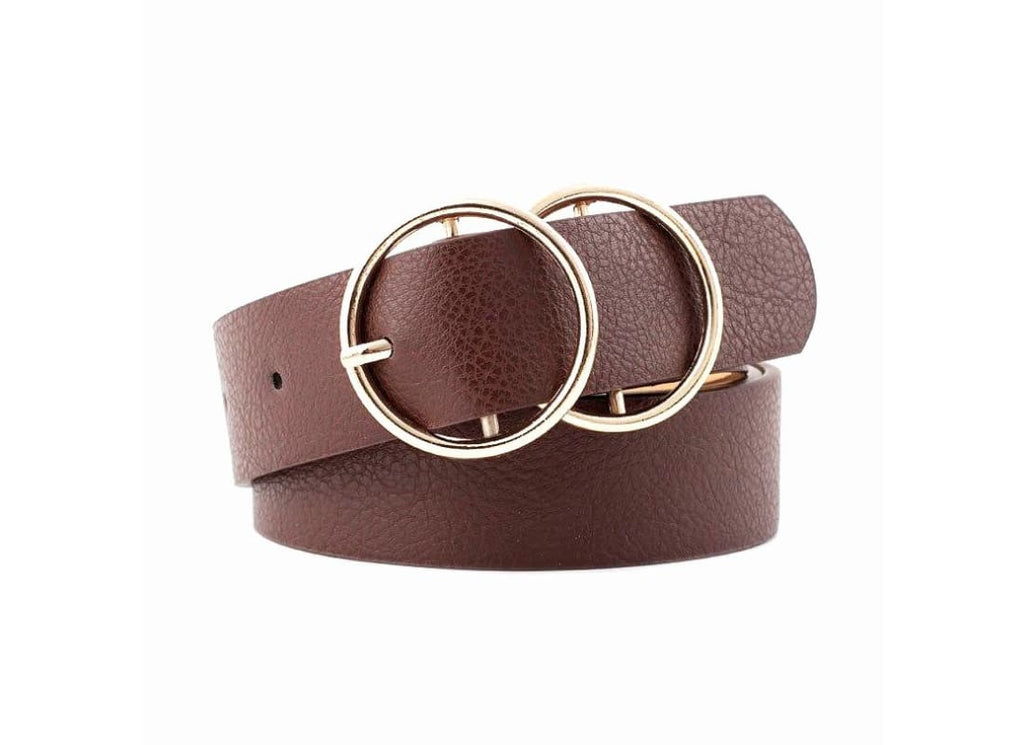 Double Circle Buckle Belt -Colour- Coffee