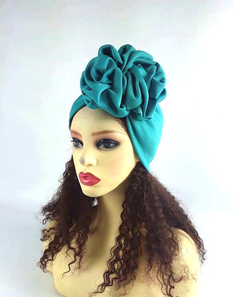 Wide Scrunched Headband - One Size Fit / Green-Teal - Heaadbands Fashion Headband, Green Headband, Hair Accessories, Handmade, Handmade