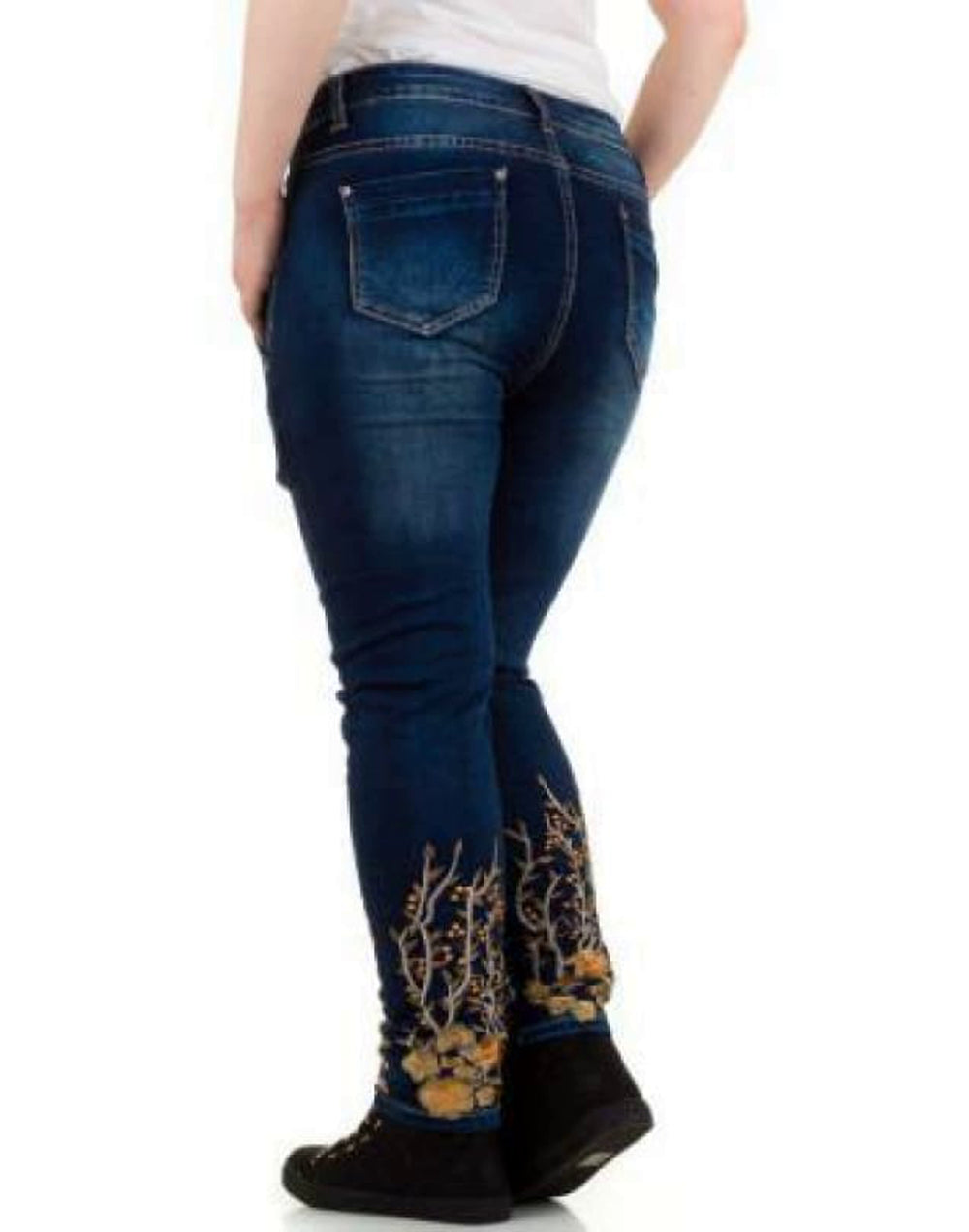 Embroidered Hem Plus Size Jeans with Asymmetric Waistline