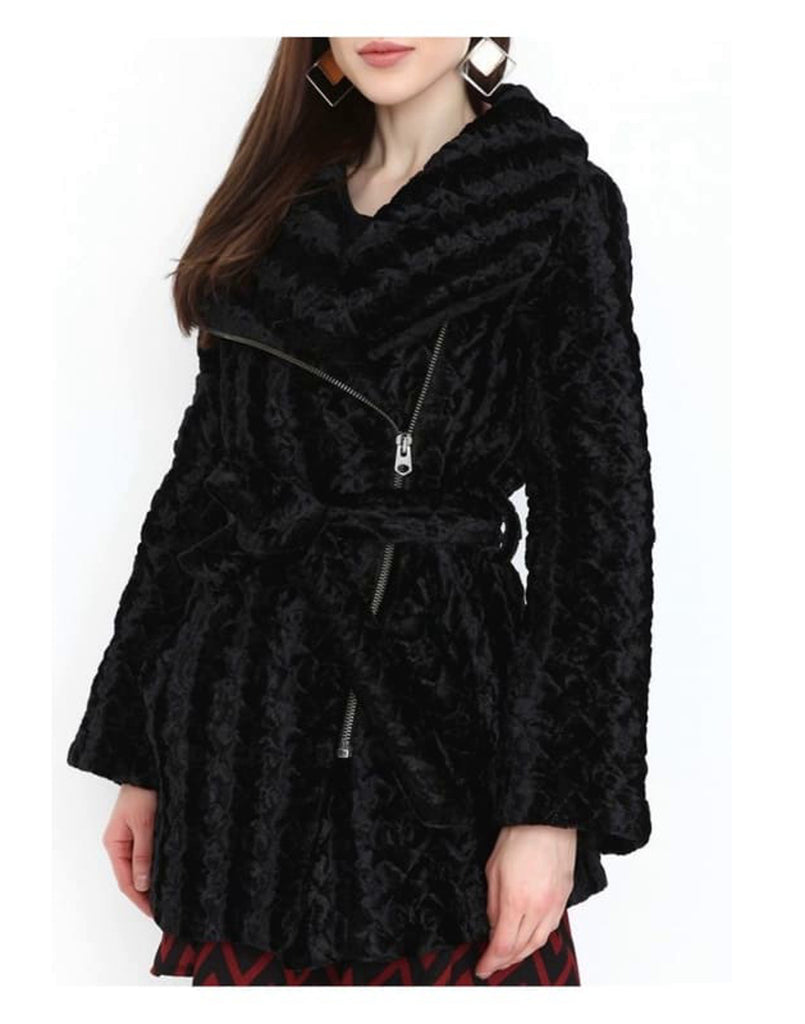 Faux Fur Wrap Coat with Side Zip Panel - Coats & Jackets black black coats coats & Jackets fury coats midi coat