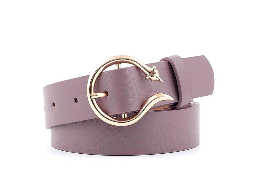 Faux Leather Snake Buckle Belt - Purple Belt Snake Belts