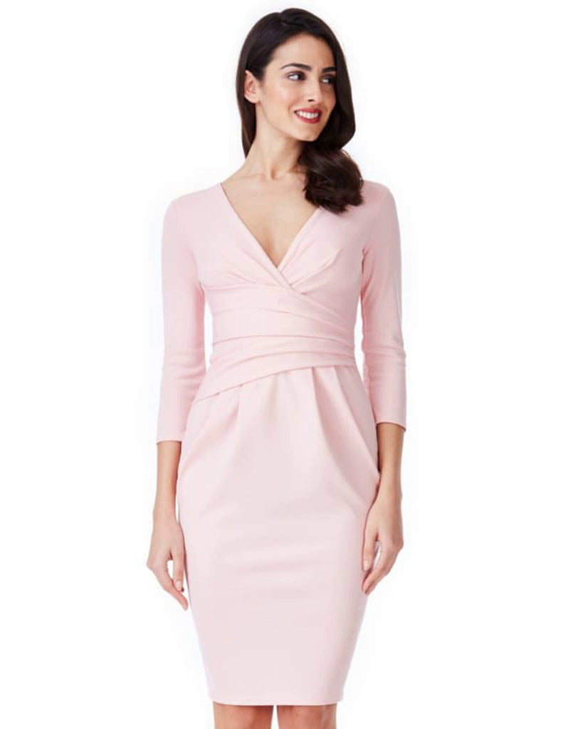 Fitted Pleated Midi Dress - Colour- Pink