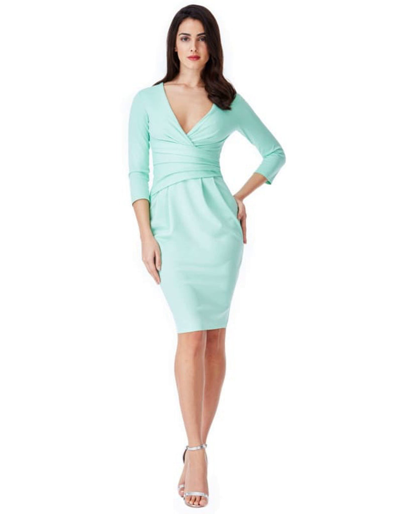 Fitted Pleated Mint Midi Dress - Dresses bodycon dress, bodycon dresses, bodycon midi dresses, citygoddess, cocktail dress
