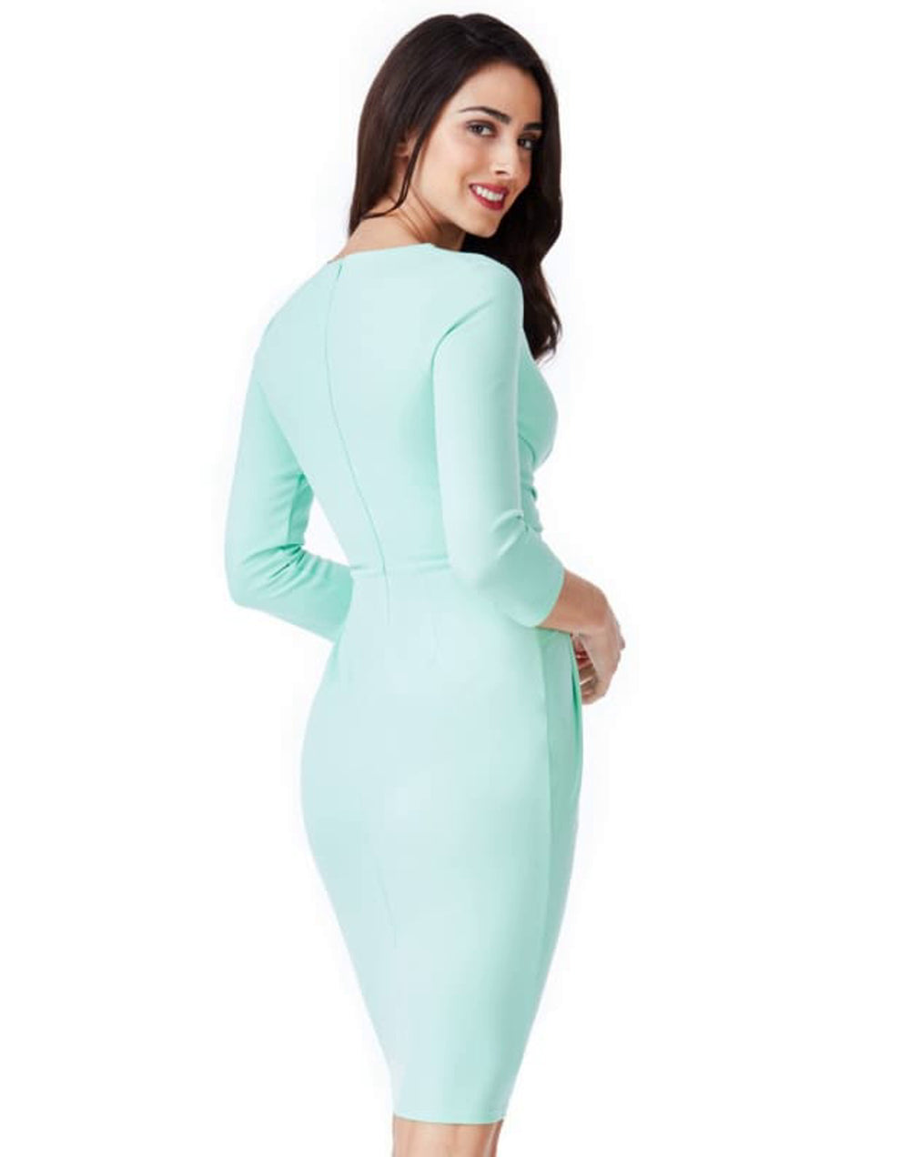 Fitted Pleated Mint Midi Dress - Dresses bodycon dress bodycon dresses bodycon midi dresses citygoddess cocktail dress