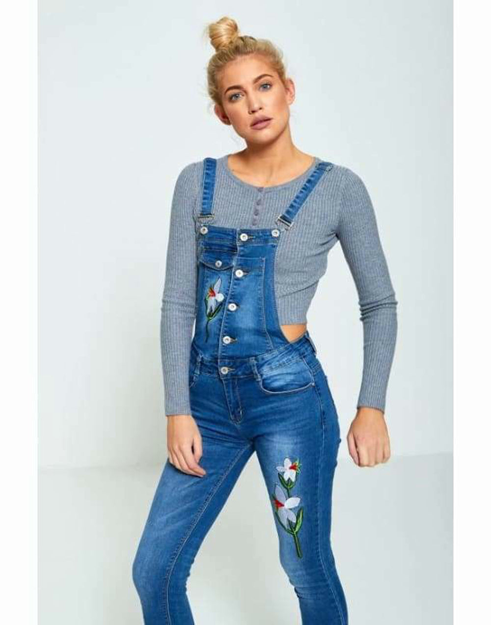 Floral Embroidered Button Up Dungarees - Jumpsuits & Playsuits 5165, blue dungarees, by sawn, by swan floral embroidered button up