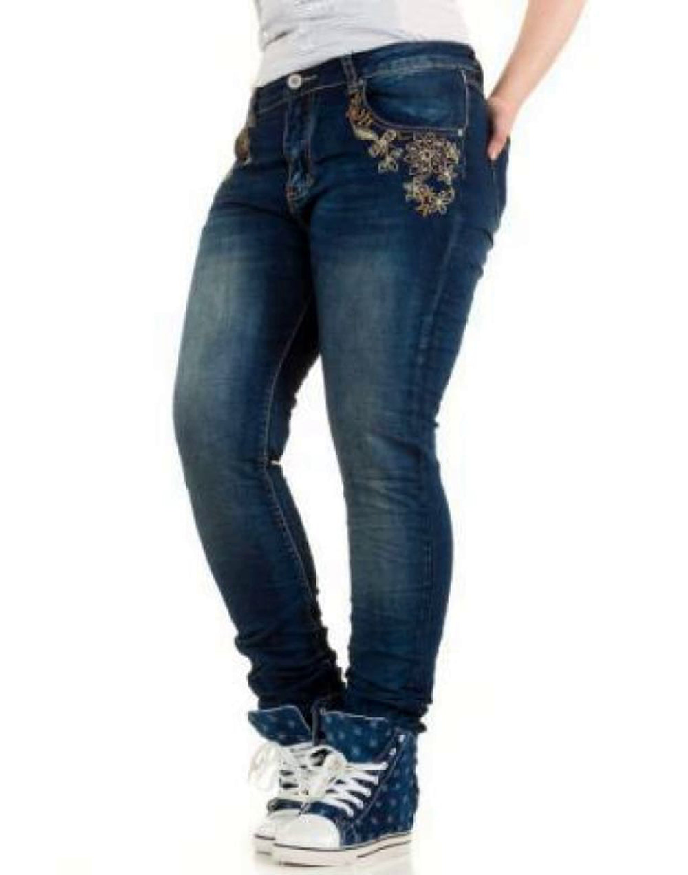 Floral Embroidered Mid washed Jeans - Plus Size Jeans & Jeggings blue denim trousers jeans plus size plus size clothing