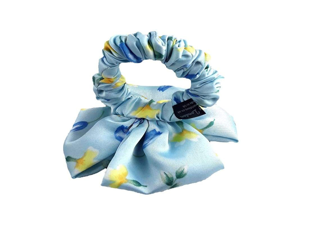 Floral Print Skinny Scrunchie - Handmade Bags & Accessories Blue Floral Print Hair Accessories Hair Jewellery Ponytail Holder Hair Tie