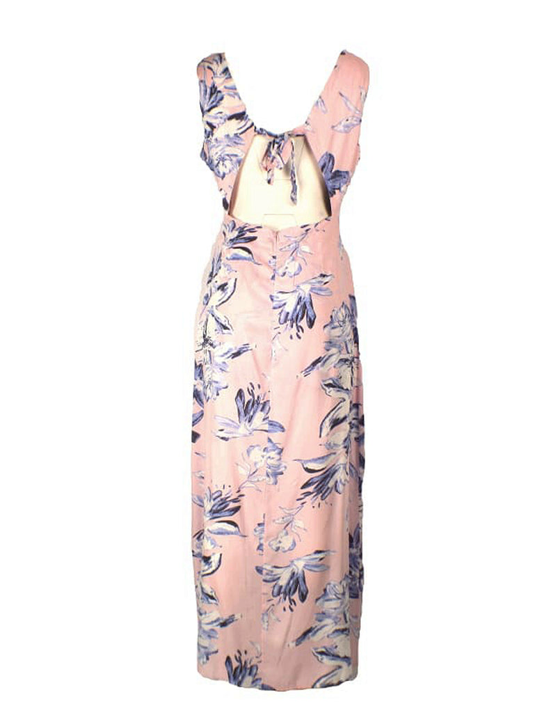 Floral Tie Back Maxi Dress with Shorts - Back View