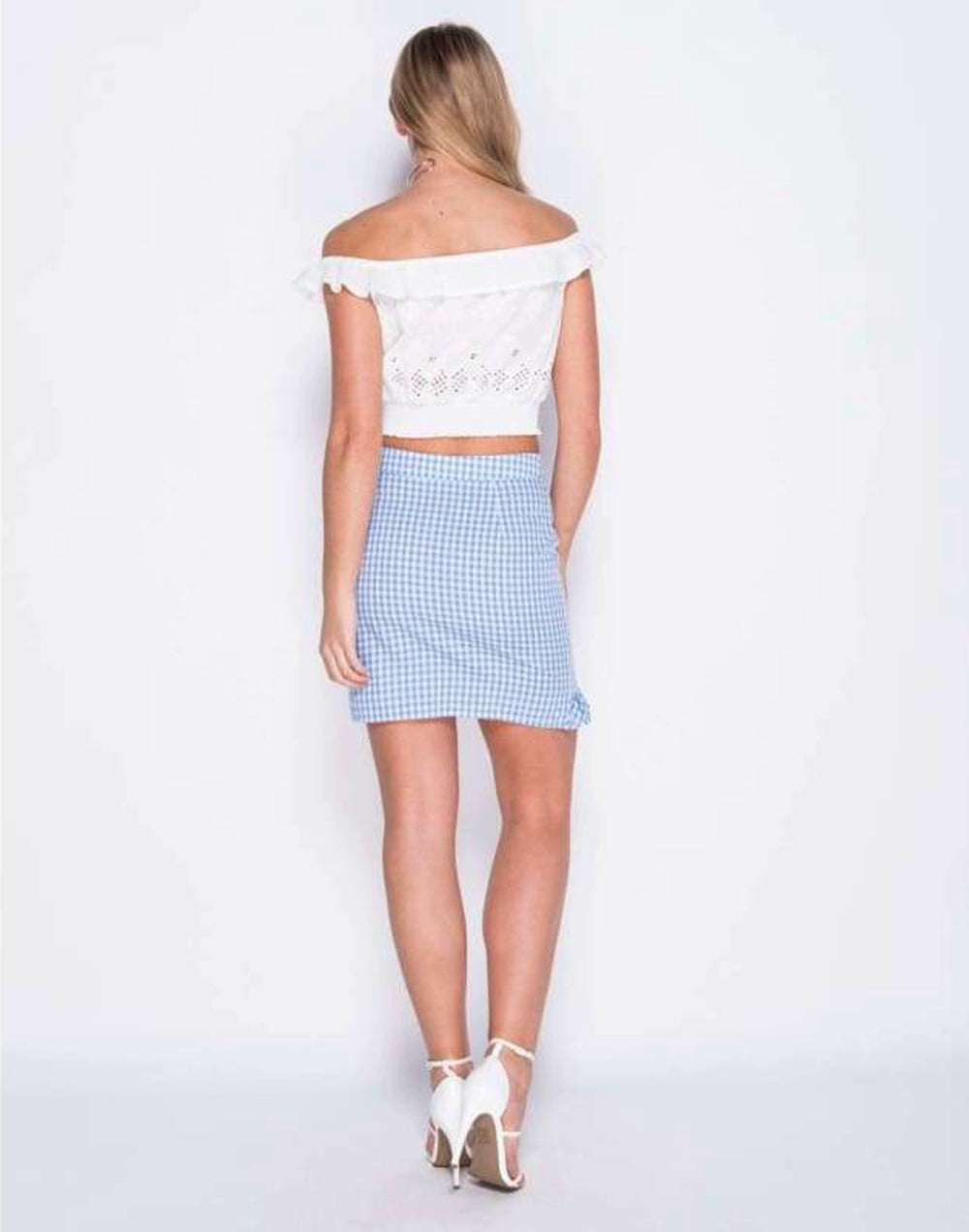 Frill Detail Check Print Tulip Skirt - Back View