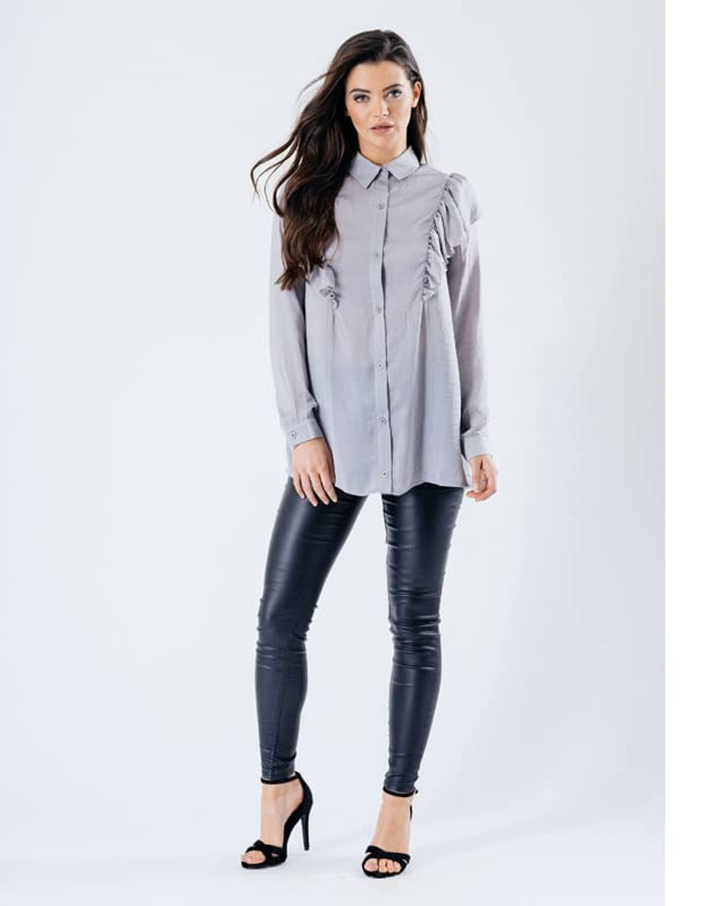 Front Frill Blouse - Tops & Shirts blouses frill blouse frill bouses GREY grey shirts