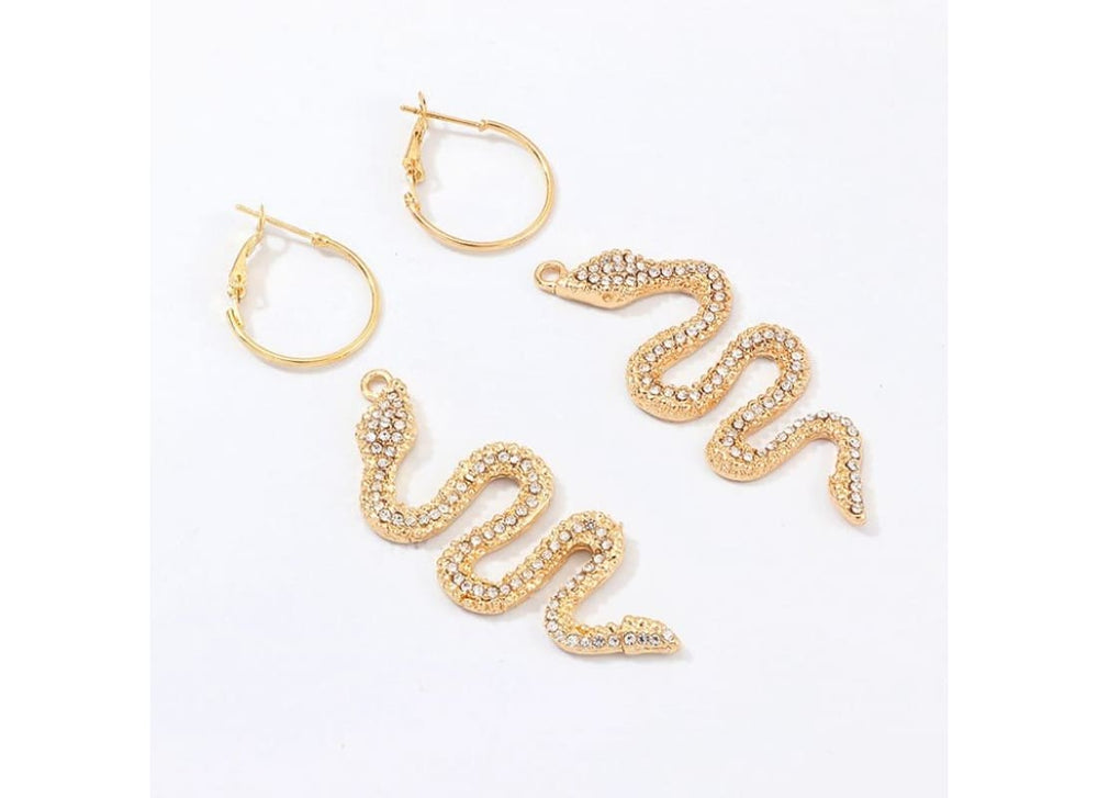 Gold Crystal Snake Hoop Earrings - Earrings Women's Accessories Crystal Drop Earrings Dangle Earrings Drop Earrings Gold