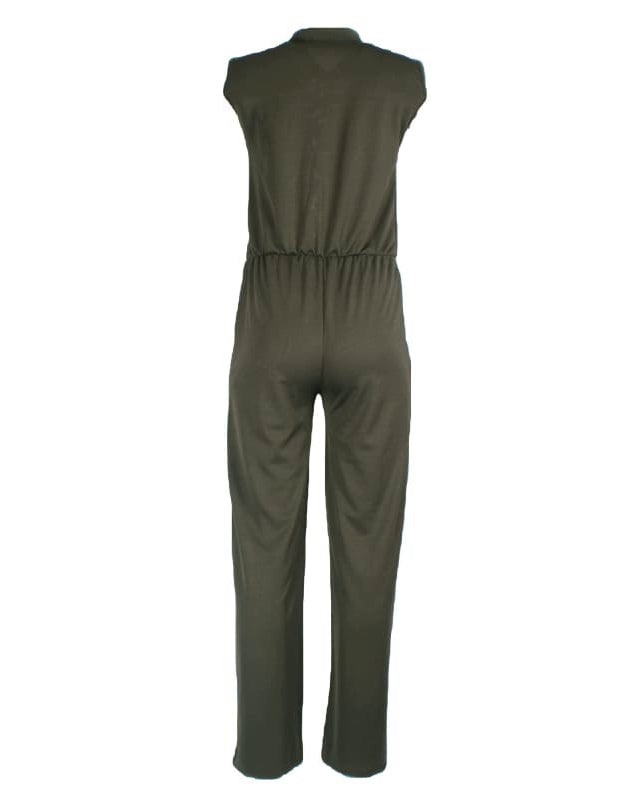 Green Wide Leg Jumpsuit- Sleeveless shirt style