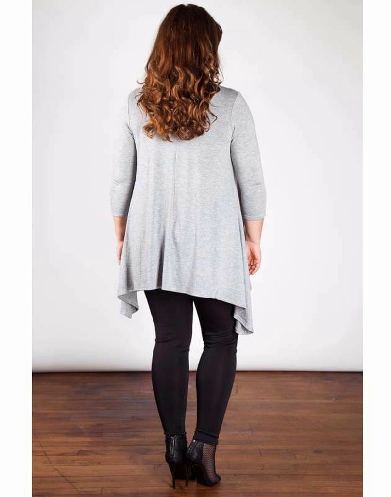 Grey Sequin Panel Tunic Top