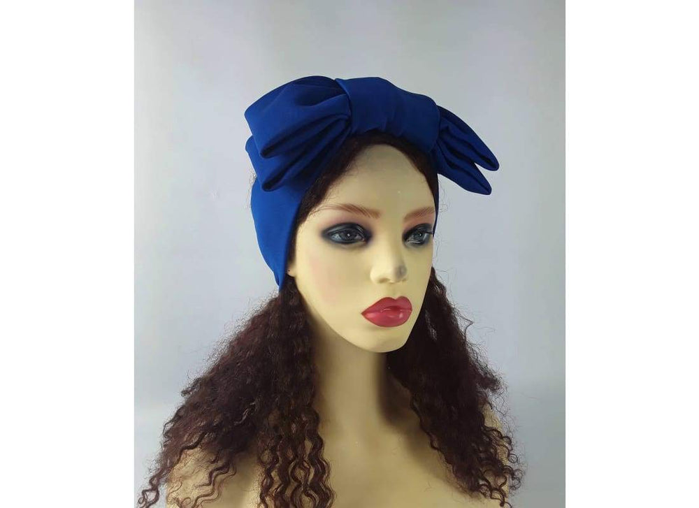 Headband with Bow - One Size / Royal Blue - Headbands Blue Headpiece, Double Bow Headband, Royal Blue, Semi Turban Headband, Summer Hairband