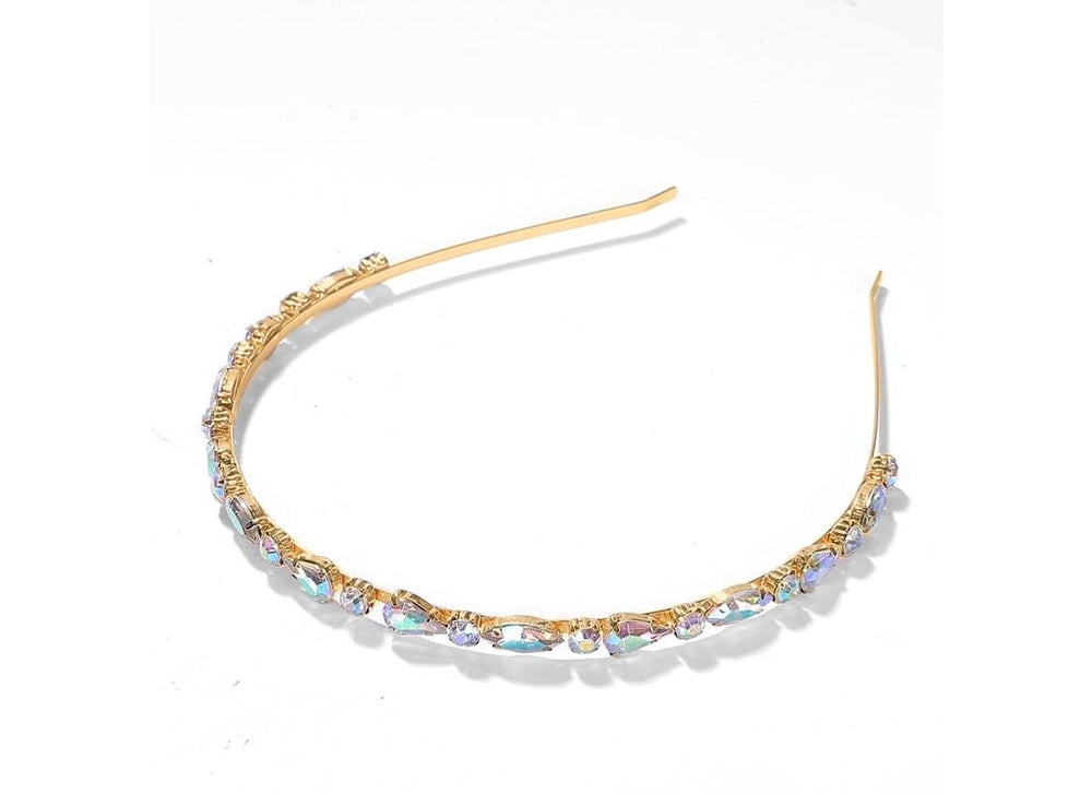 Iridescent Gem Headband -  Multi Colour Gemstone Hair Accessories Slim Metal Alice Headband