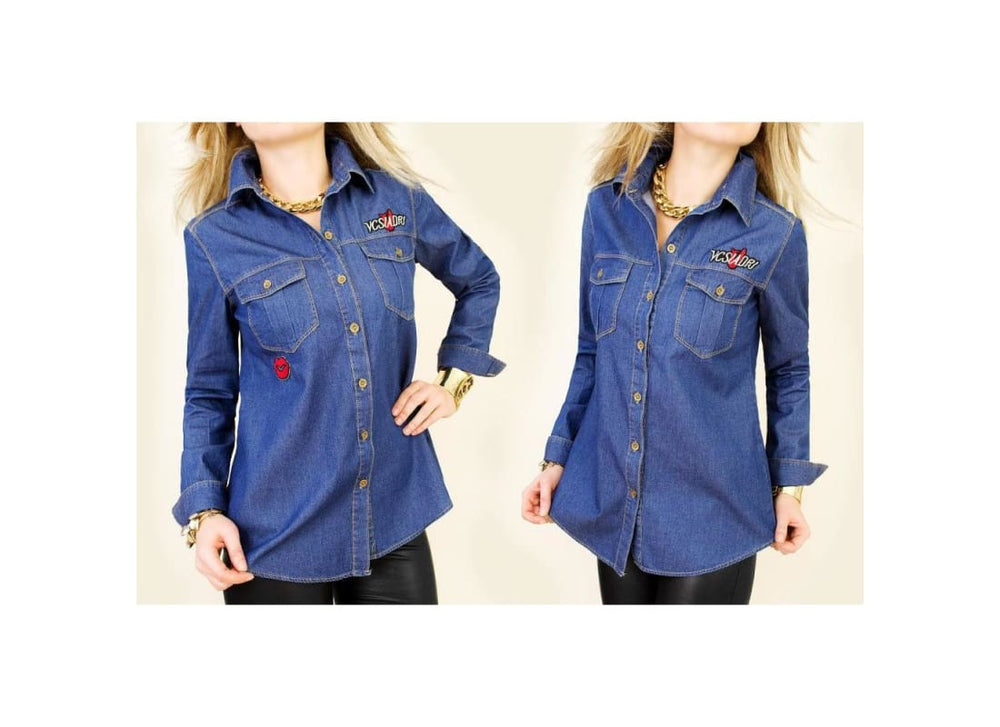 Jeans Shirt with Trendy Patches - 38 / Blue - Tops & Shirts b1150mix blue denim top blue jeans shirt denim shirt denim top