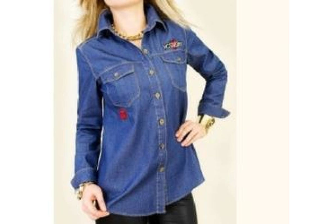 Jeans Shirt with Trendy Patches - 40 / Blue - Tops & Shirts b1150mix blue denim top blue jeans shirt denim shirt denim top