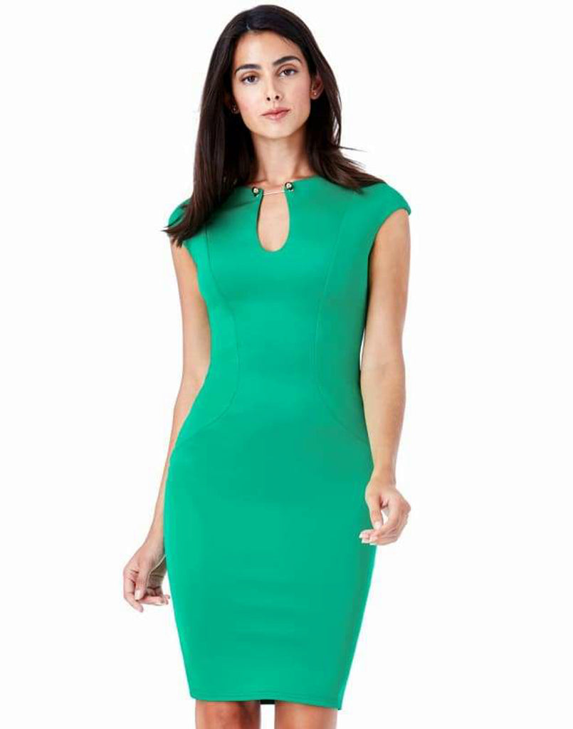 Keyhole Fitted Midi Dress With Metal Bar Detail - 8/Jade