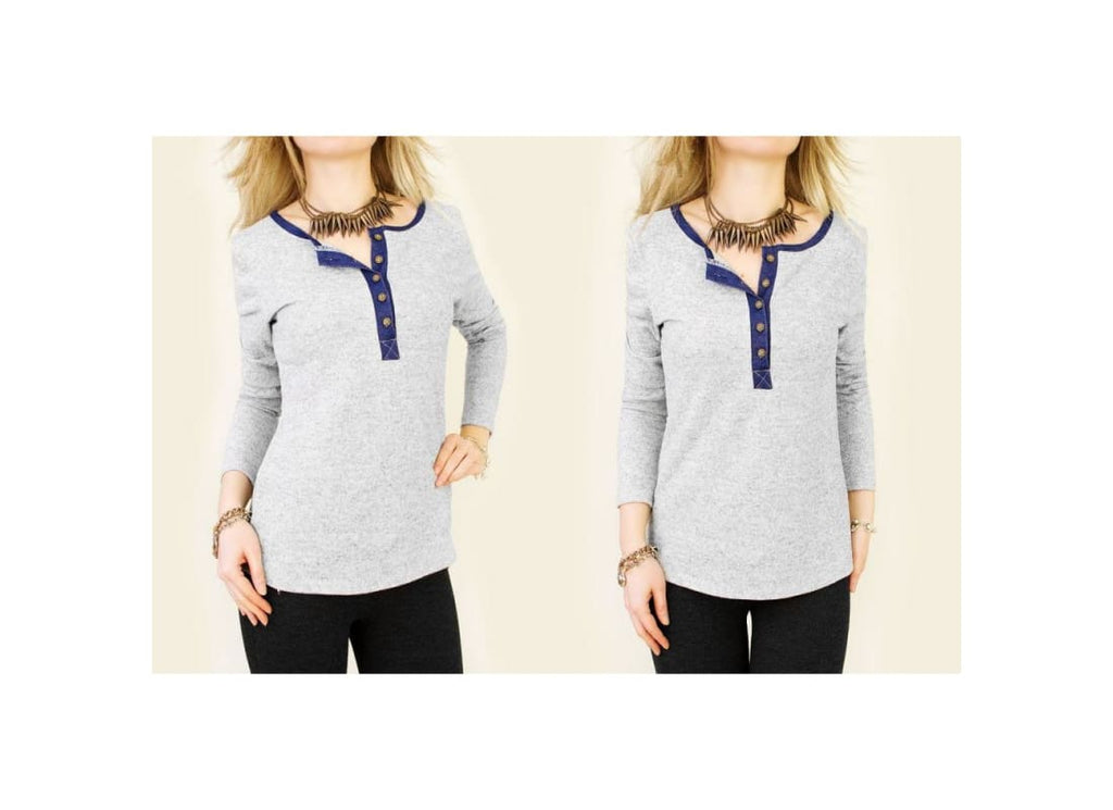knitted Button Collar Neckline Top - Tops & Shirts blouse blouses blue blue tops gray top