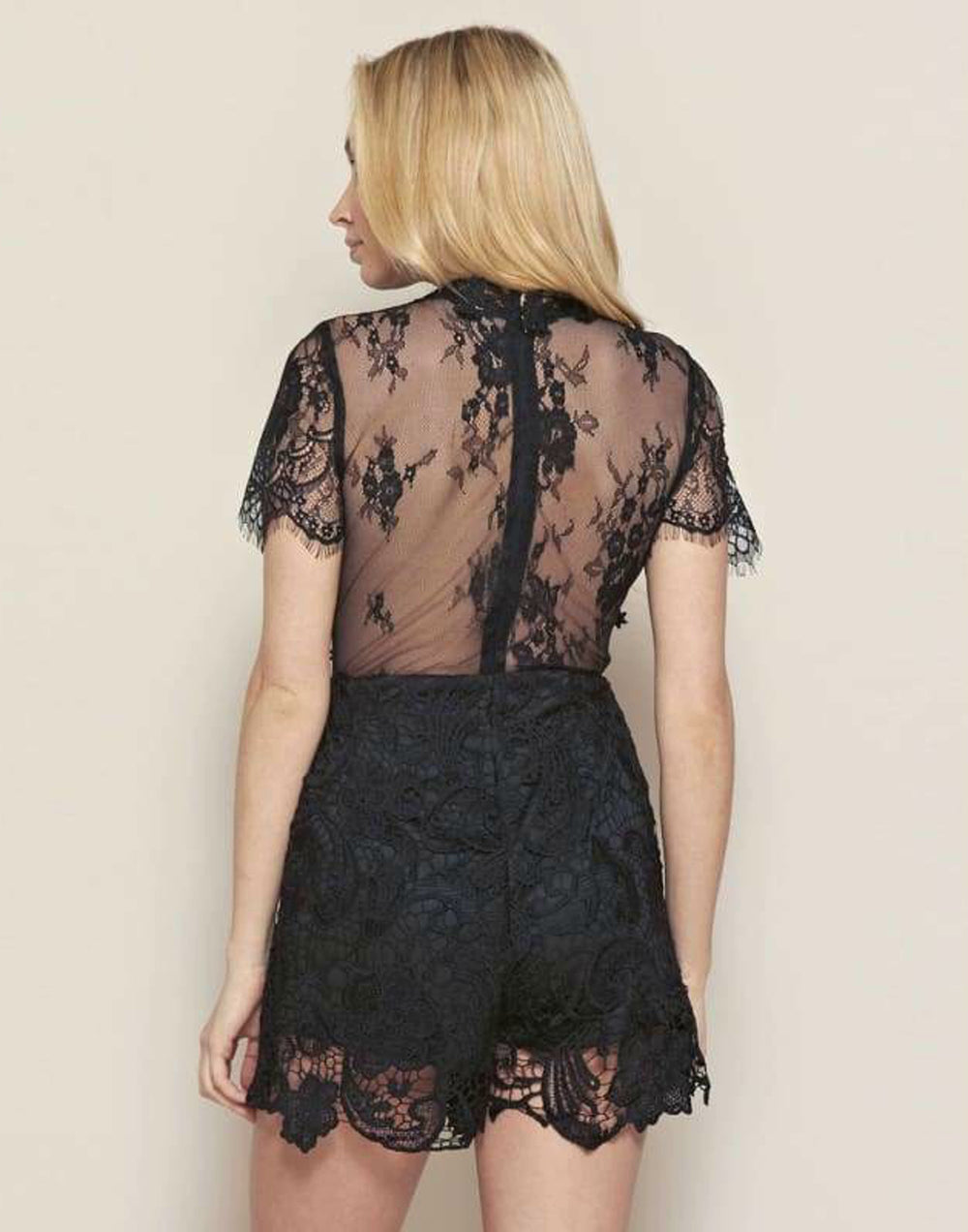 Lace Embroidered Playsuit - S Size