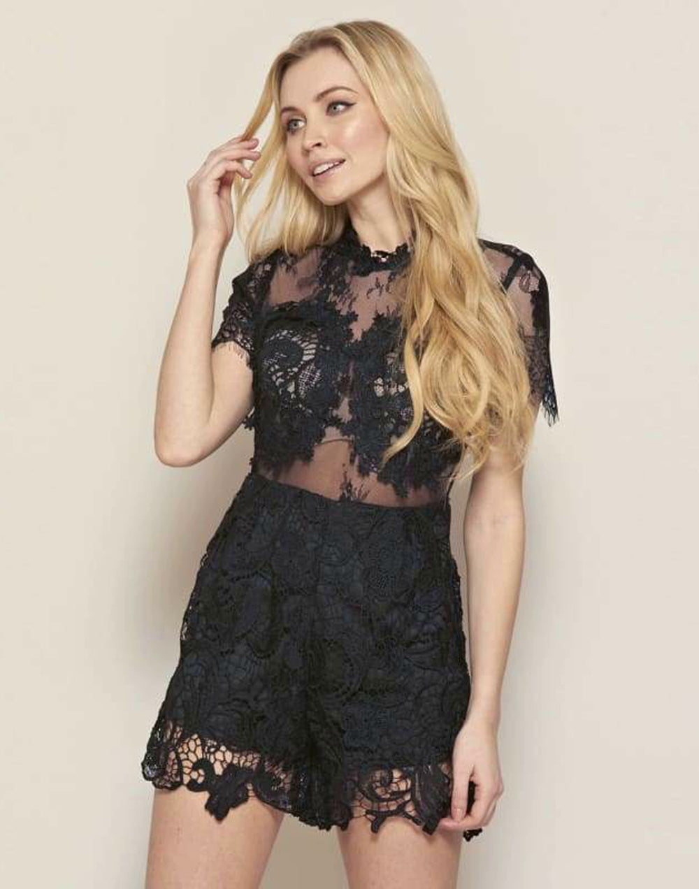Lace Embroidered Playsuit - M Size