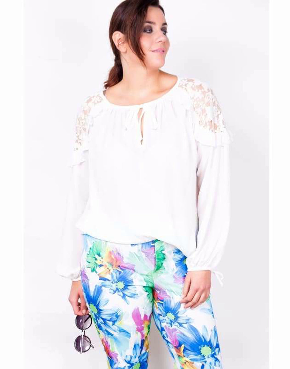 Lace Shoulder Ruffle Blouse - 16/18 / White - Plus Size Tops & Shirts blouses lace ruffle tops lace shoulder ruffle blouse lace tops Plus