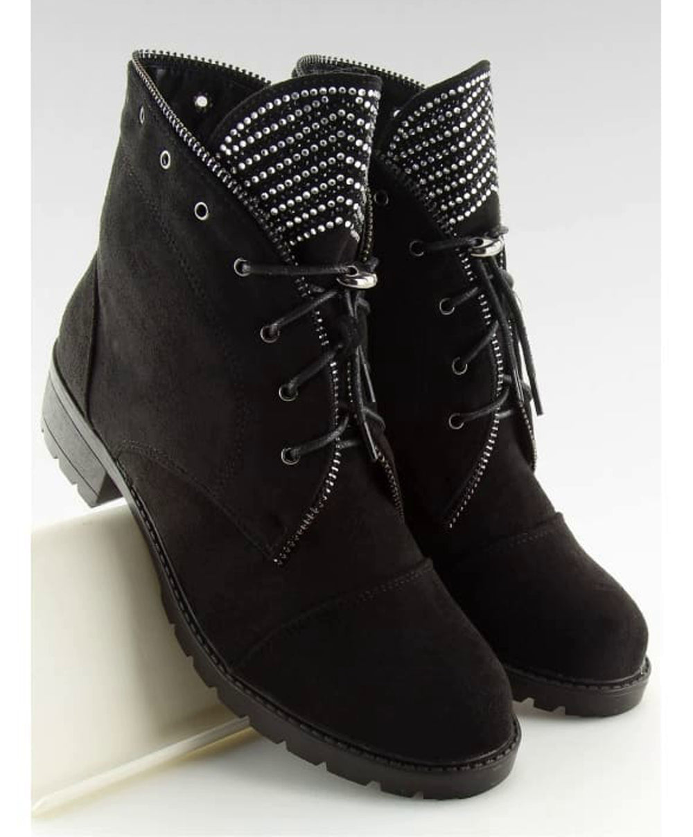 Lace Up Biker Ankle Boots - Footwear Ankle boots, biker boots, black footwear, Booties, boots