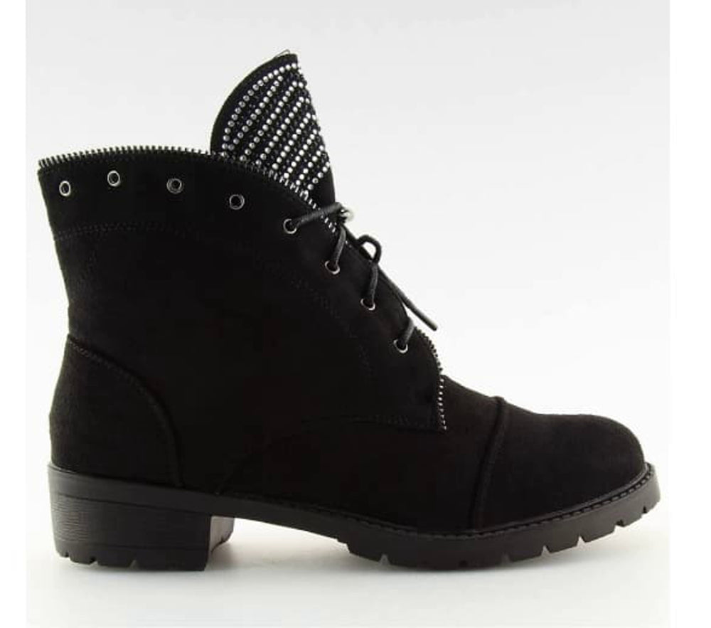 Lace Up Biker Ankle Boots - Side View