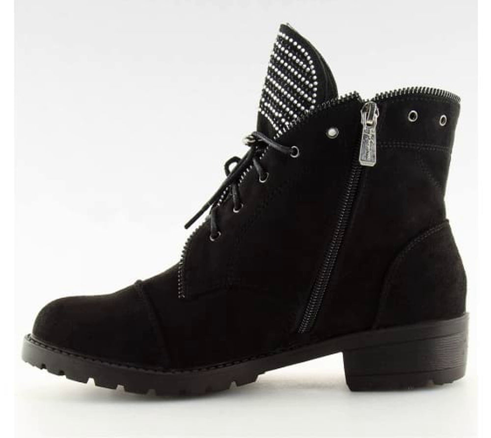 Lace Up Biker Ankle Boots