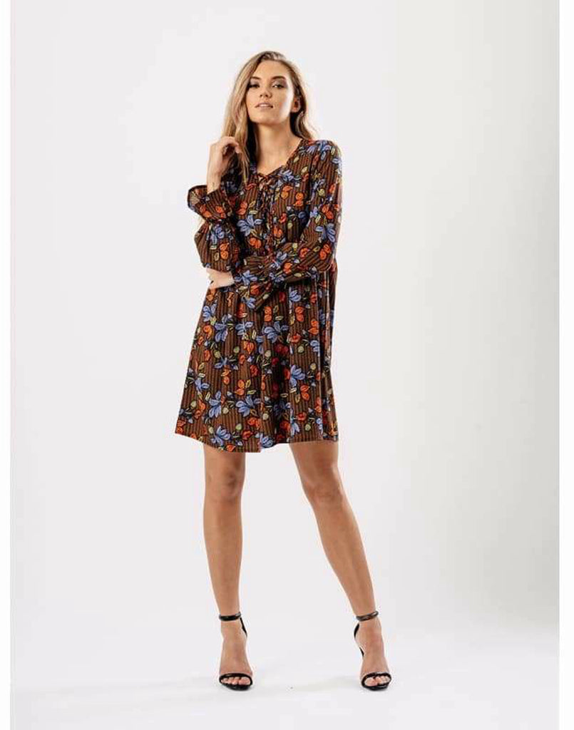 Lace Up Floral Boho Smock Dress - Dresses boho dresses day dress day dresses dress dresses
