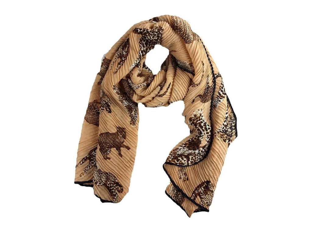 Leopard Print Pleated Scarf - Scarves Animal Print Bags & Accessories Crinkle Scarf Headscarf Leopard Print Scart