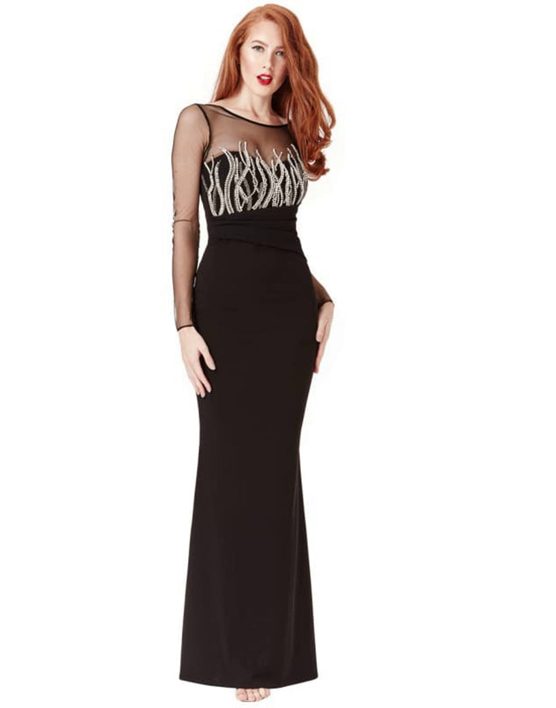 Long Sleeved Embellished Black Maxi Dress - Dresses Beaded Maxi dresses black Black dress black maxi dresses bodycon dress