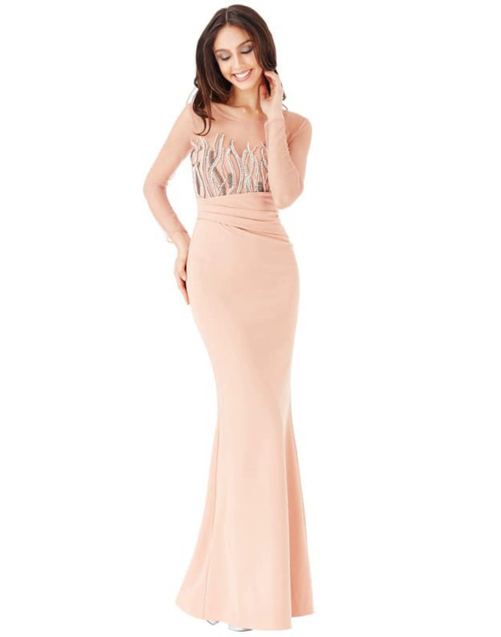 Long Sleeved Embellished Maxi Dress -  UK 10 Dresses Blush Colour dress bodycon dress bodycon dress with fish tail bodycon dresses bodycon maxi