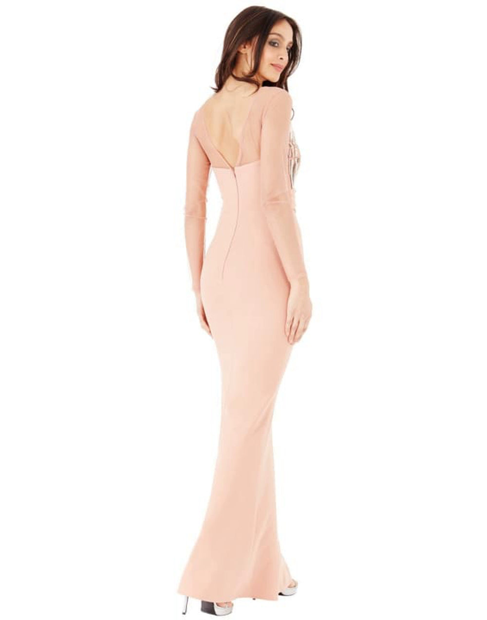 Long Sleeved Embellished Maxi Dress - Dresses Blush Colour dress, bodycon dress, bodycon dress with fish tail, bodycon dresses, bodycon maxi