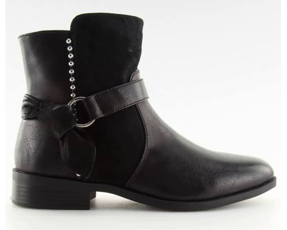 Low Heel Buckle Strap Boots - Footwear black, black footwear, black shoes, boots, Boots Inello (125896)