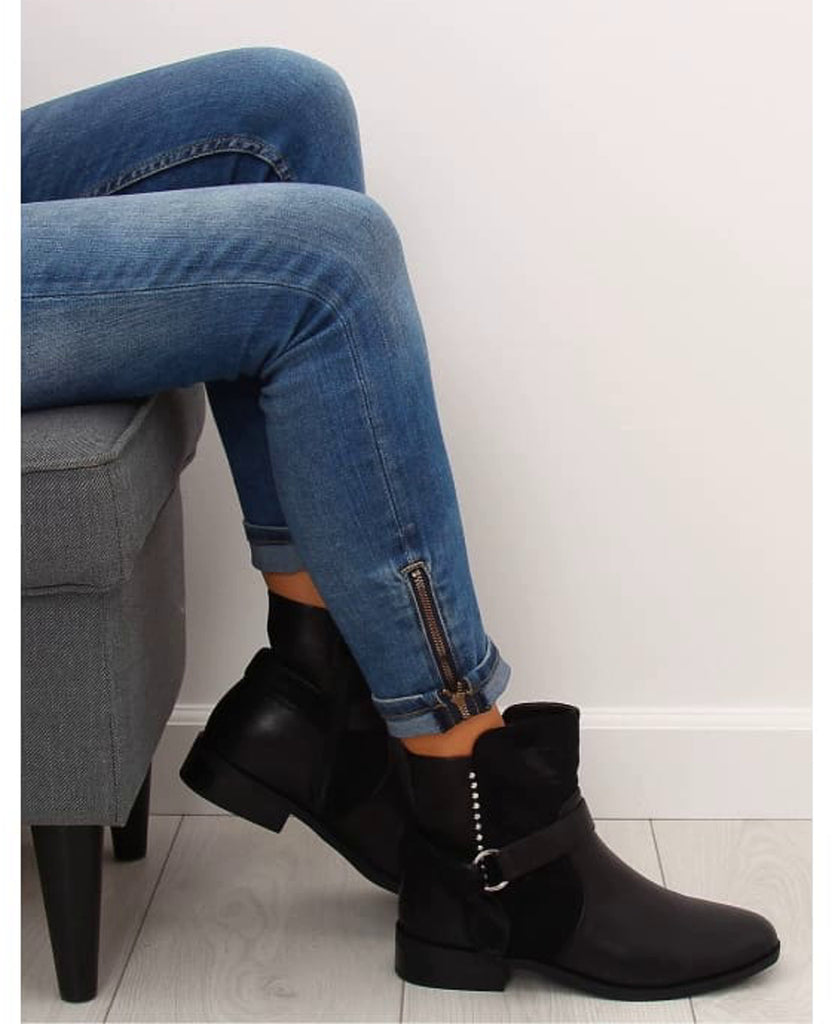 Low Heel Buckle Strap Boots